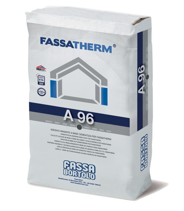 FASSA A96 BASE COAT Grey or White Fibre reinforced cementitious adhesive and Base coat on to EPS & cement/carrier board