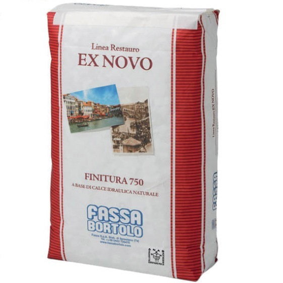 FASSA FINITURA 750 Bio finish coat plaster based on NHL 3.5 natural hydraulic lime for the renovation of damp walls for indoors and outdoors with marmorino effect