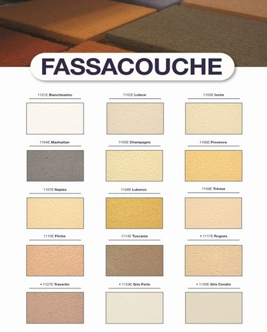 FASSACOUCHE THROUGH COLOURED/SCRATCHED RENDER (in various colours) semi-lightweight coloured render for waterproofing and decorating facades