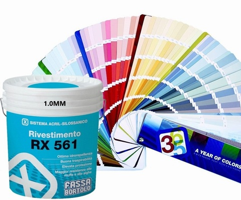 FASSA RX561 TOP COAT IN 1.0mm or 1.5mm finish, Acrylic siloxane coating Pastel White 14