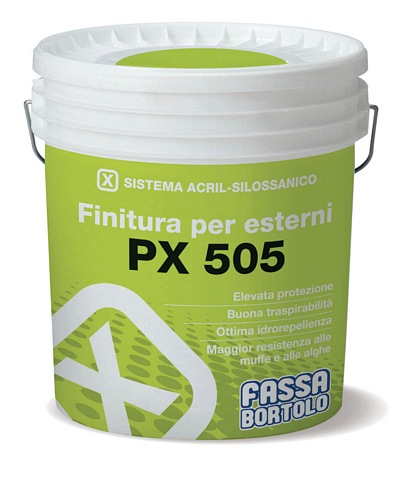 FASSA PX 505 Acrylic-siloxane filling finish 14L (Available to be tinted to a wide range of colours, please call for more information)