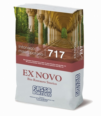 FASSA INTONACO MACROPOROSO 717 Bio base coat plaster made from NHL 3.5 natural hydraulic lime for the restoration of damp masonry, for interiors and exteriors